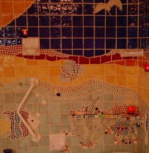 A closeup of the spa mosaic. Note the candles are lit.
